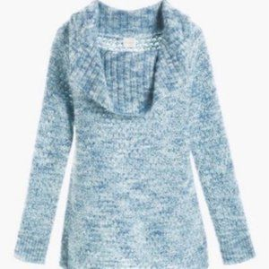 NWT Chicos off the shoulder blue & silver sweater